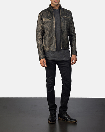 Men's Ionic Distressed Brown Leather Jacket 1