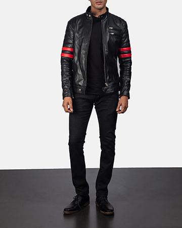 Mens Monza Black & Red Leather Biker Jacket 1