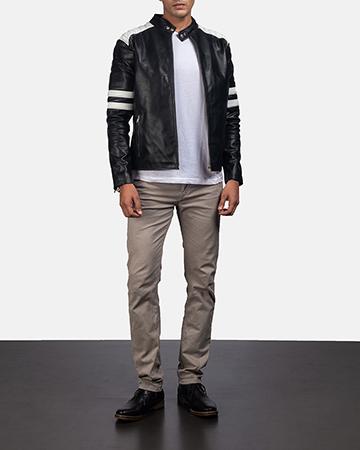 Mens Monza Black & White Leather Biker Jacket 1