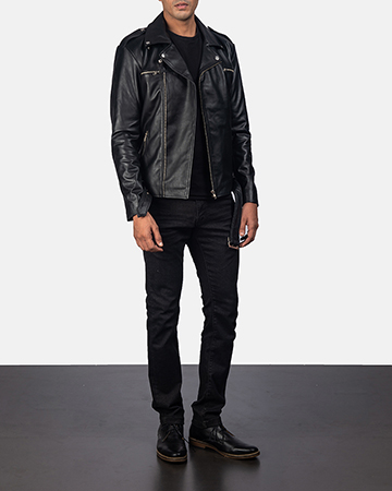 Men's Noah Black Leather Biker Jacket 1