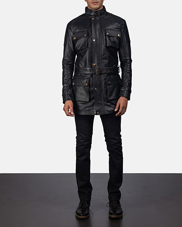 Mens Dolf Black Leather Jacket 1