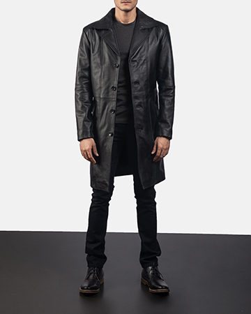 Mens Don Long Black Leather Coat 1