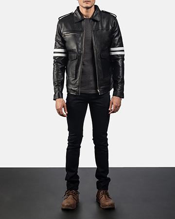 Mens Dragonhide Black Leather Jacket 6