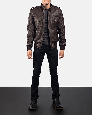 Mens Koke Brown Leather Bomber Jacket 1