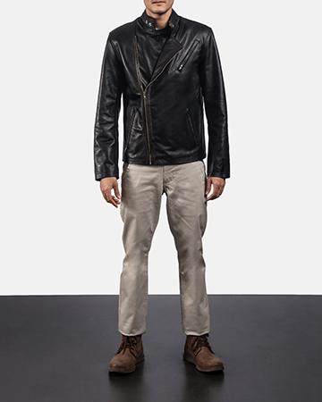 Mens Vivid Black Leather Biker Jacket 1